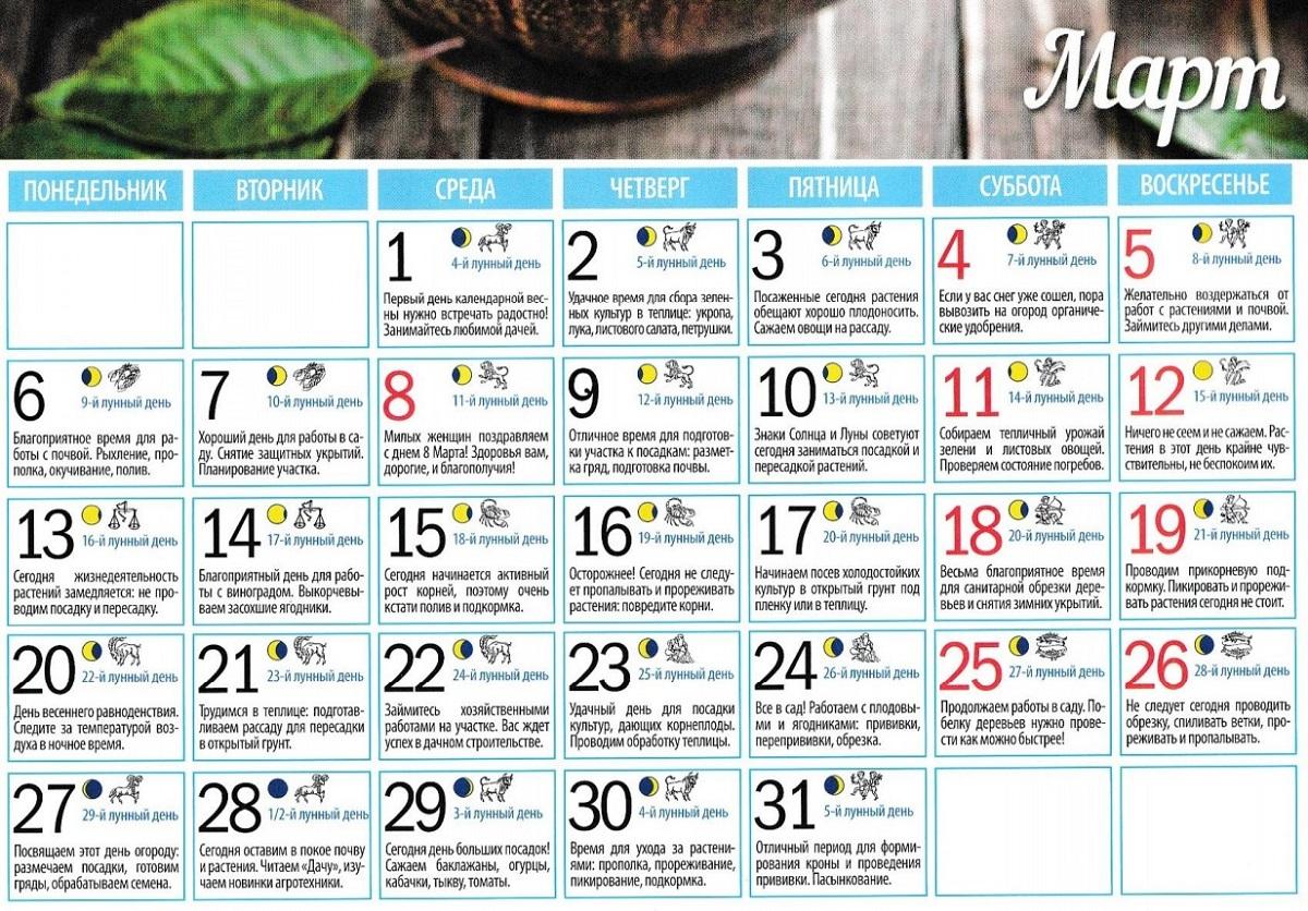 Календарь огородников на март