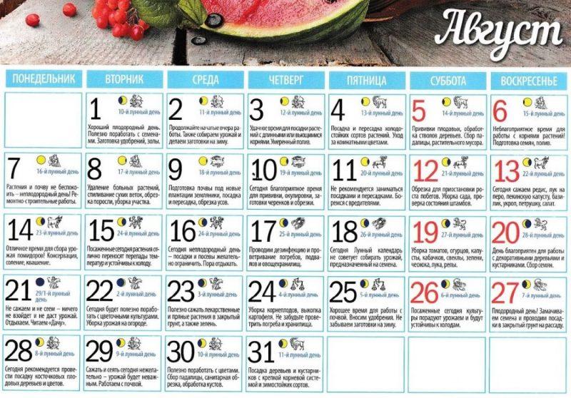 лунный календарь садовода август 2017