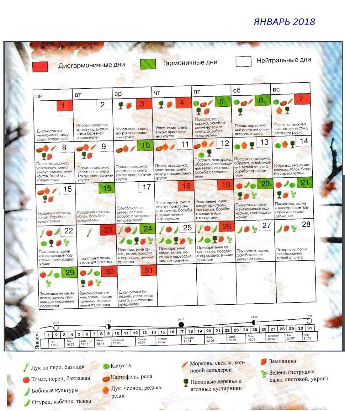 календарь садовода и огородника яннварь 2018