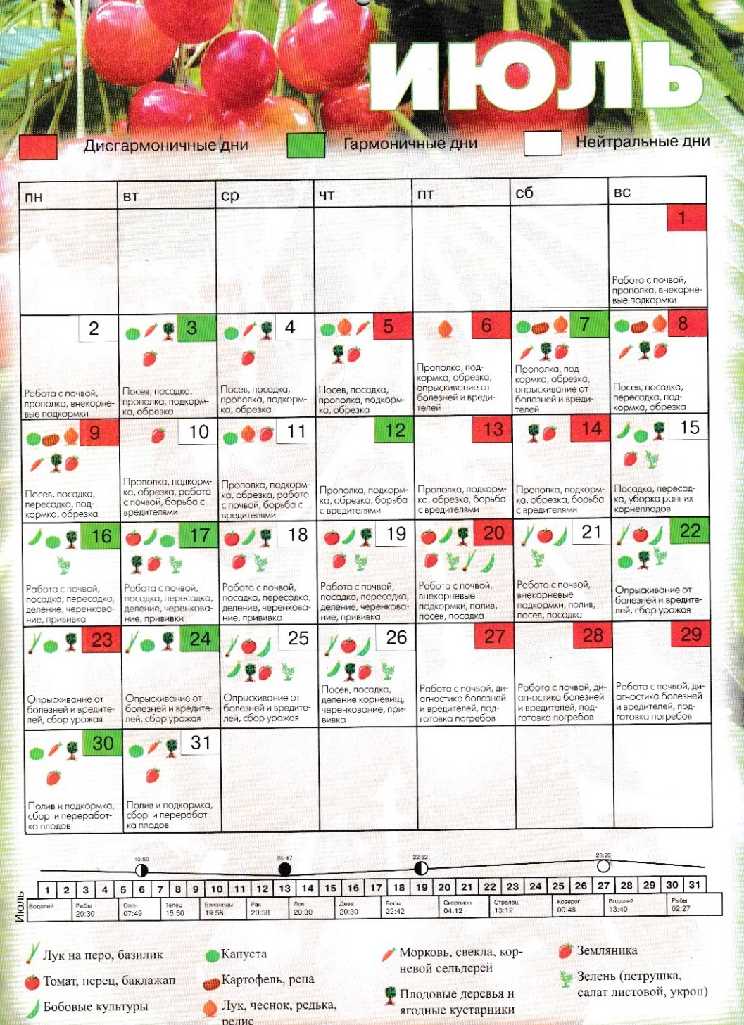 лунный календарь огородника - июль 2018