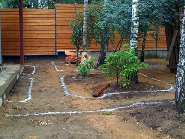 Разметка садовых дорожек на участке